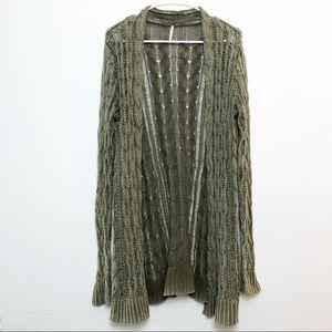 Free People | Long Line Open Knit Green Cardigan